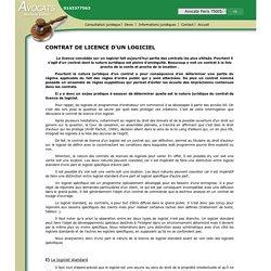 CONTRAT DE LICENCE D'UN LOGICIEL