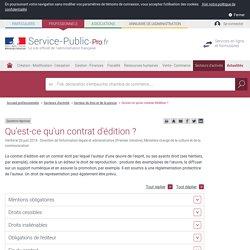 Qu'est-ce qu'un contrat d'édition? (service-public)