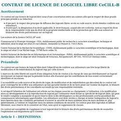 CONTRAT DE LICENCE DE LOGICIEL LIBRE CeCILL-B