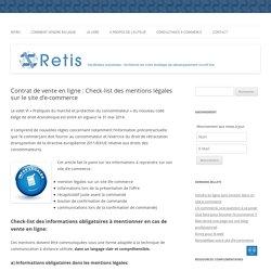 Contrat de vente en ligne : Check-list des mentions légales sur le site d'e-commerce - RETIS