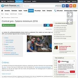 Contrat pro - Salaire minimum 2016