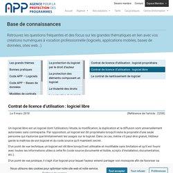 Contrat de licence d'utilisation : logiciel libre