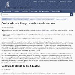 Contrats de franchisage ou de licence de marques