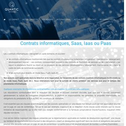 Contrats informatiques, Saas, Iaas ou Paas