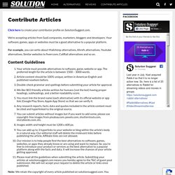 Contribute Articles to Suggest Software, Games, Apps Alternatives