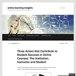 Three Actors that Contribute to Student Success in Online Courses: The Institution, Instructor and Student