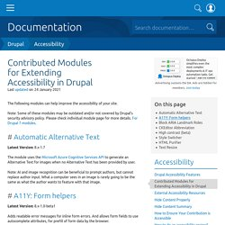 Contributed Modules for Extending Accessibility in Drupal