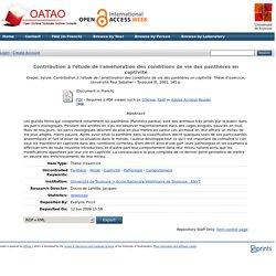 ENVT - 2001 - Thèse en ligne : Contribution à l'étude de l'amélioration des conditions de vie des panthères en captivité