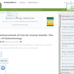 Biotechnology Advances Available online 10 February 2012 Nutritional enhancement of rice for human health: The contribution of b