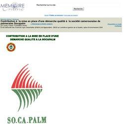 Contribution à la mise en place d'une démarche qualité à la société camerounaise de palmeraies Socapalm - Landry Fulbert TCHAMBIA PAHO