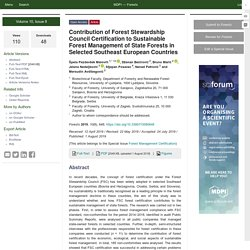 FORESTS 01/08/19 Contribution of Forest Stewardship Council Certification to Sustainable Forest Management of State Forests in Selected Southeast European Countries