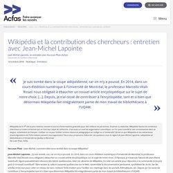 Wikipédia et la contribution des chercheurs : entretien avec Jean-Michel Lapointe
