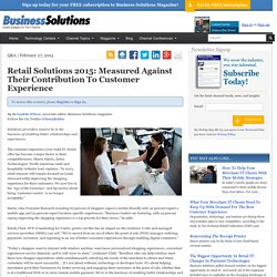 Retail Solutions 2015 Measured Against Their Contribution To Customer Experience