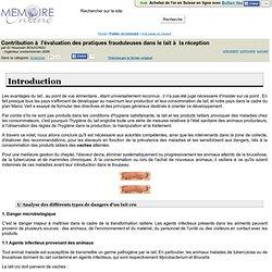 MEMOIRE ONLINE - 2009 - Contribution à l'evaluation des pratiques frauduleuses dans le lait à la reception