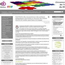 Contribution des neurosciences à des pratiques pédagogiques diversifiées en direction des enfants atteints de troubles spécifiques du langage - Site de l'ASH du Rhône