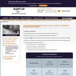 AGESSA - Les cotisations d'assurances sociales, la CSG, la CRDS et la contribution formation professionnelle