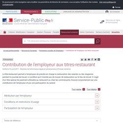 Contribution de l'employeur aux titres-restaurant - professionnels
