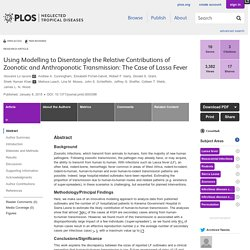 PLOS 08/01/15 Using Modelling to Disentangle the Relative Contributions of Zoonotic and Anthroponotic Transmission: The Case of Lassa Fever