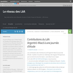 Contributions du LéA Argentré-Macé à une journée d'étude – Le réseau des LéA