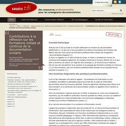 Savoirs CDI: Contributions à la réflexion sur les formations initiale et continue de la documentation scolaire