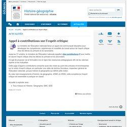 Appel à contributions sur l'esprit critique-Histoire-géographie-Éduscol