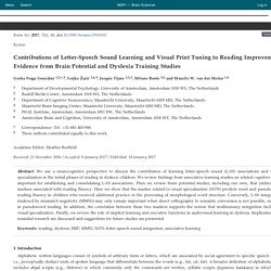 Contributions of Letter-Speech Sound Learning and Visual Print Tuning to Reading Improvement: Evidence from Brain Potential and Dyslexia Training Studies