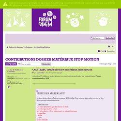 CONTRIBUTIONS dossier matériaux stop motion