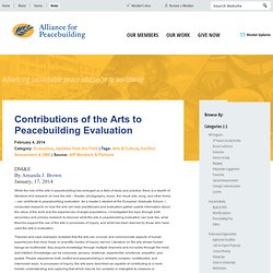 Contributions of the Arts to Peacebuilding Evaluation : Alliance for Peacebuilding