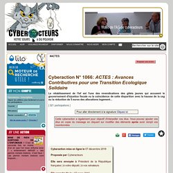 ACTES : Avances Contributives pour une Transition Ecologique Solidaire cyberaction