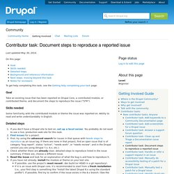 Contributor task: Document steps to reproduce a reported issue