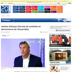 Jérôme Cahuzac fait acte de contrition et démissionne de l'Assemblée