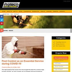 Pest Control as an Essential Service during COVID-19