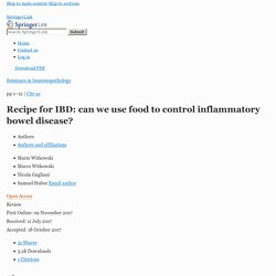 Recipe for IBD: can we use food to control inflammatory bowel disease?