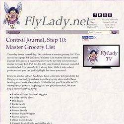 FlyLady Journal, Step 10: Master Grocery List