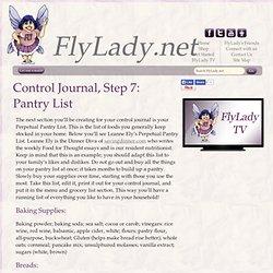 FlyLady Journal, Step 7: Pantry List
