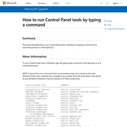 How to run Control Panel tools by typing a command