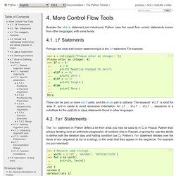 4. D'autres outils de contrôle de flux — Documentation Python 3.8.0