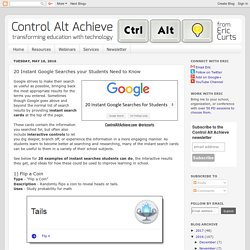 Control Alt Achieve: 20 Instant Google Searches your Students Need to Know