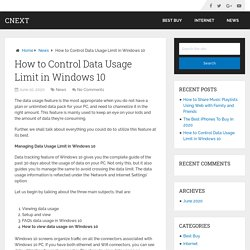 How to Control Data Usage Limit in Windows 10 – Cnext