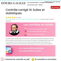 Contrôle corrigé 14: Suites et statistiques – Cours Galilée