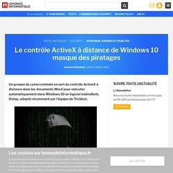 Le contrôle ActiveX à distance de Windows 10 masque des piratages