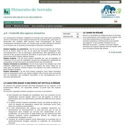 4.6 Contrôle des espèces invasives