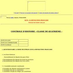 CONTROLE D'HISTOIRE - CLASSE DE QUATRIEME -