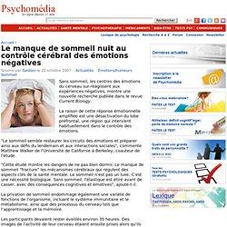 Le manque de sommeil nuit au contrôle cérébral des émotions négatives