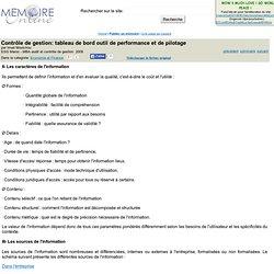 Contrôle de gestion: tableau de bord outil de performance et de pilotage - Imad Moutchou