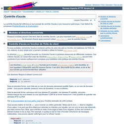 Contrôle d'accès - Serveur Apache HTTP Version 2.4