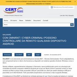 Con OmniRAT i cyber-criminali possono controllare da remoto qualsiasi dispositivo Android - CERT Nazionale Italia