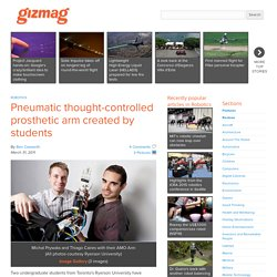 Pneumatic thought-controlled prosthetic arm created by students