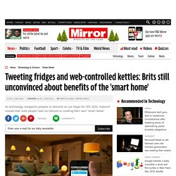 Tweeting fridges and web-controlled kettles: Brits still unconvinced about benefits of the 'smart home'