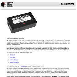 MIDI Solutions Pedal Controller; Continuous MIDI Data Generator